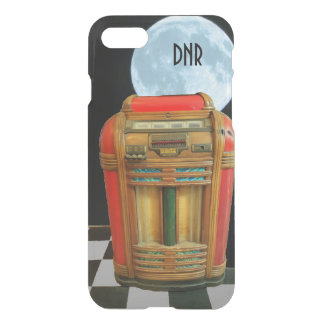 Antique Jukebox with Blue Full Moon your Initials iPhone 7 Case