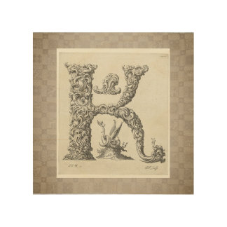 """Antique """"K"""" Initial Wood Wall Decor"""