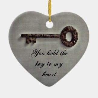 Antique key ceramic heart decoration