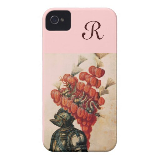 ANTIQUE KNIGHT HELMET ,DRAGONS AND RED FEATHERS Case-Mate iPhone 4 CASES