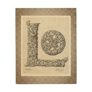 """Antique """"L"""" Initial Wood Wall Art"""