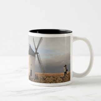 Antique La Mancha windmills, with visitors Two-Tone Coffee Mug