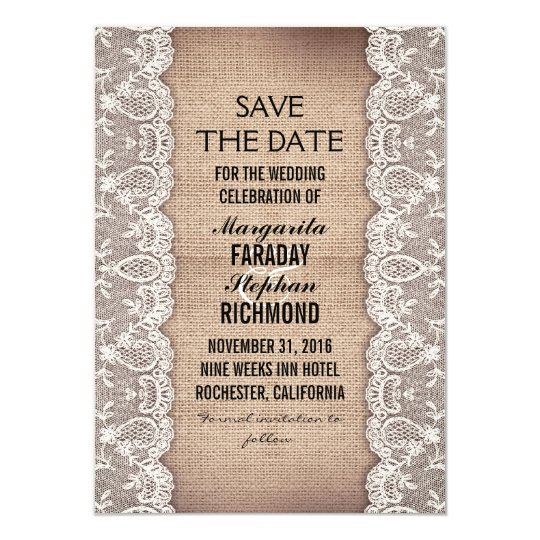 antique lace and rustic burlap save the date