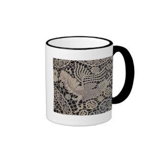 Antique Lace Bird Ringer Coffee Mug