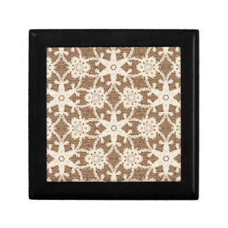 Antique lace - cream and brown small square gift box