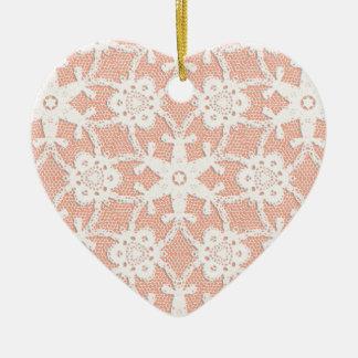 Antique lace - white and peach ceramic heart decoration