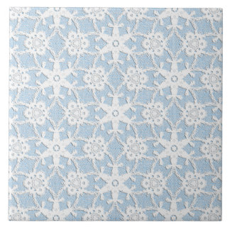 Antique lace - white and sky blue large square tile