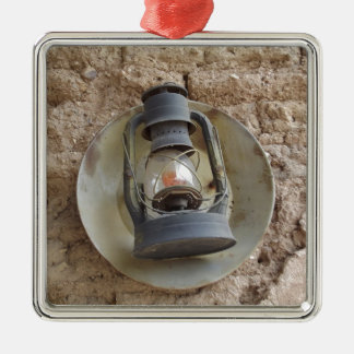 Antique Lantern Silver-Colored Square Decoration