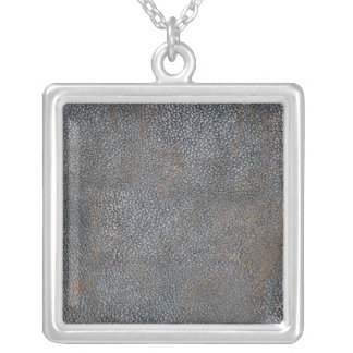 Antique Leather Book Cover Distressed and Worn Square Pendant Necklace