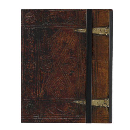 Antique Leather Bound Engraved Book Cover iPad Folio