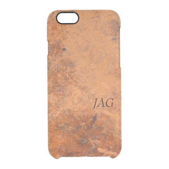 Antique Leather Look Monogram Clear iPhone 6/6S Case