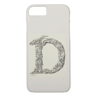 Antique Letter D Monogram Initial iPhone 8/7 Case