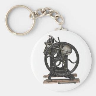 antique letterpress from 1901 round keychain