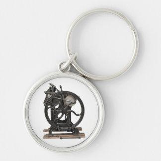 antique letterpress premium round keychain
