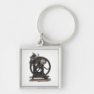 antique letterpress premium square keychain