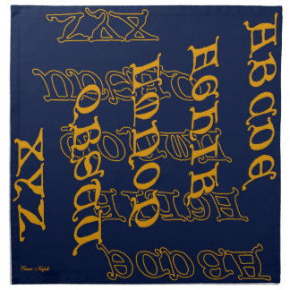 Antique Letters in Gold on Navy Napkins