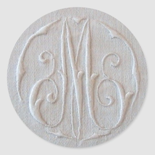 Antique Linen Monogram 'M' Classic Round Sticker