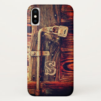 Antique lock and bolt on old wood door phone case