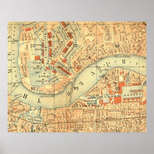 Antique London map River Thames old vintage Poster