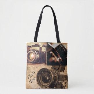 Antique Look Camera Collage Tote Bag