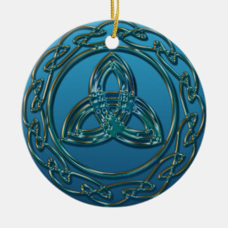 Antique Look Celtic Trinity Knot In Blue Green Round Ceramic Decoration