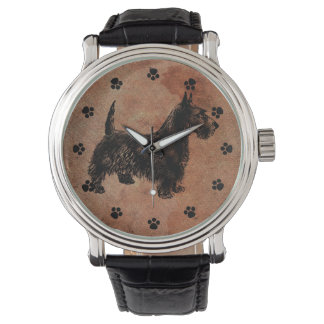 Antique Look Scottie Dog Watch