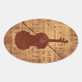 Antique look Violin Oval Sticker