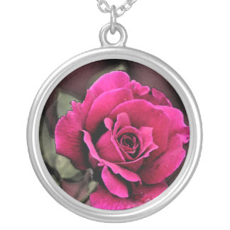 antique Love Rose Silver Plated Necklace