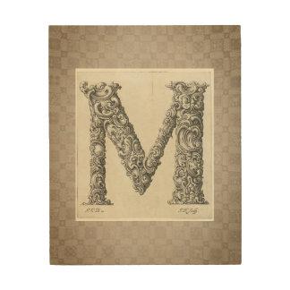 "Antique ""M"" Initial Wood Print"