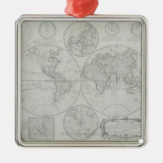 Antique Map 2 Silver-Colored Square Decoration
