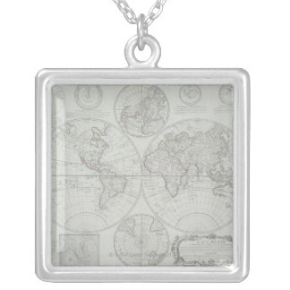 Antique Map 2 Silver Plated Necklace