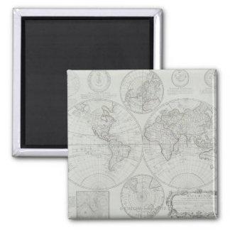 Antique Map 2 Square Magnet