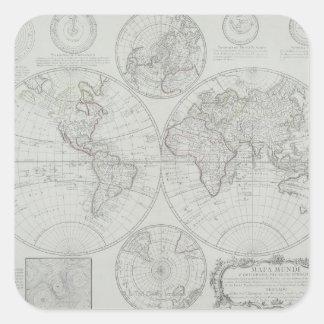 Antique Map 2 Square Sticker
