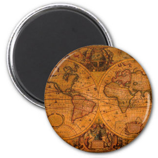 ANTIQUE MAP 6 CM ROUND MAGNET
