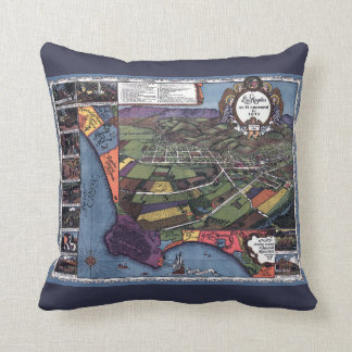 Antique Map, Aerial City of Los Angeles California Cushion