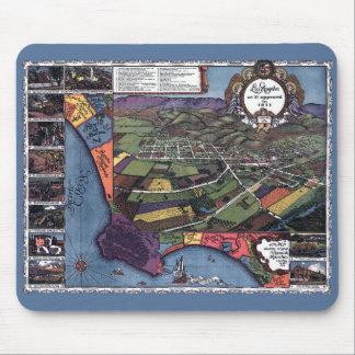 Antique Map, Aerial City of Los Angeles California Mouse Mat