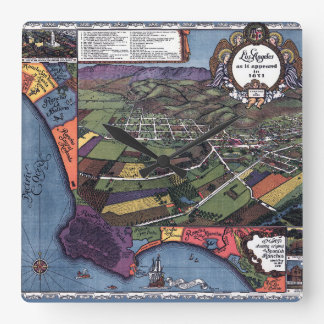 Antique Map, Aerial City of Los Angeles California Square Wall Clock