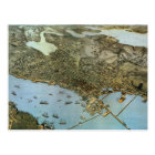 Antique Map Aerial View City of Seattle Washington Postcard