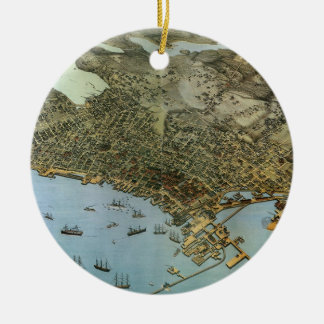 Antique Map Aerial View City of Seattle Washington Round Ceramic Decoration