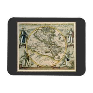 Antique Map, America Sive Novus Orbis, 1596 Flexible Magnets