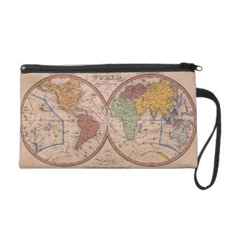 Antique Map Wristlet Purses