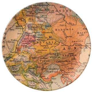 Antique Map Central Europe Plate