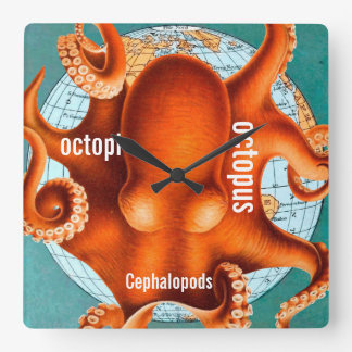Antique Map Octopus Wall Clock
