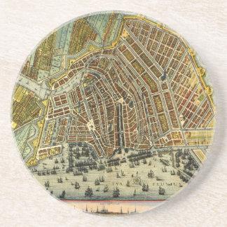 Antique Map of Amsterdam, Holland aka Netherlands Coaster