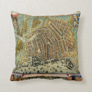 Antique Map of Amsterdam, Holland aka Netherlands Cushion