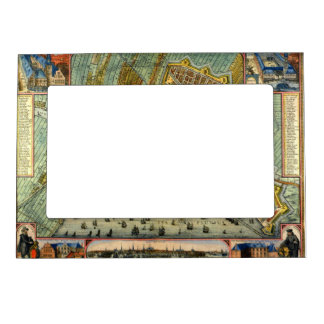 Antique Map of Amsterdam, Holland aka Netherlands Magnetic Picture Frame