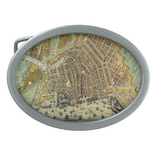 Antique Map of Amsterdam, Holland aka Netherlands Oval Belt Buckles