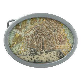 Antique Map of Amsterdam, Netherlands, Holland Oval Belt Buckles