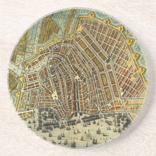Antique Map of Amsterdam, Netherlands, Holland Drink Coasters