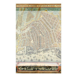 Antique Map of Amsterdam, Netherlands, Holland Customised Stationery